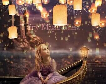 Digital Backdrop floating lanterns, fantasy background / prop , for composite photo. Instant download.