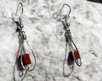 Silver Tear Drop and Goldstone Earrings