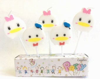 Cute Donald Duck Tsum Tsum Candle 5pcs|Theme party|Prince boy Princess girl 1st first birthday|Baby shower decoration|Cup cake topper
