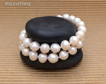 Fresh Water Pearl Bracelet/Real Pearl Bracelet/Ivory Pearls/Classic Style/Pearl Jewellery/2 stands knotted Pearl Bracelet/Womens Bracelet