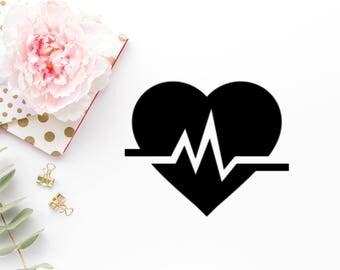 Heartbeat Svg - Heartbeat Png - Heartbeat Dxf - Heartbeat Cut File - Nurse Svg