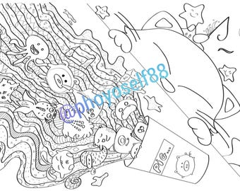 Clumsy Kitty Doodle Coloring Page - Doodle Art