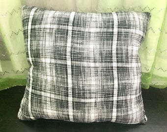 Plaid throw pillow, black and white tweed, cute decorative pillow