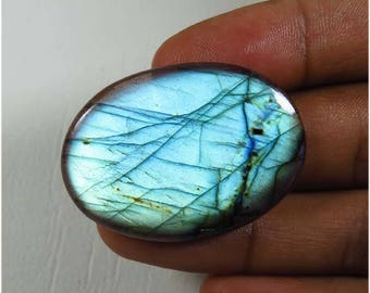 38x28 mm. Blue Flash Labradorite Gemstone. Spectrolite Blue labradorite loose Oval shape. Natural Labradorite cabochon. 39.75 Cts. LB-52