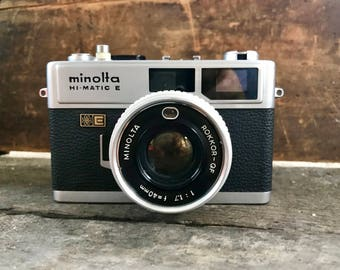 Vintage Minolta Hi-Matic E Camera   Minolta 35MM Film Camera   Minolta Hi Matic E Camera With Case   Vintage Photography   Camera Decor
