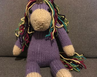 Knit Unicorn Stuffed Toy