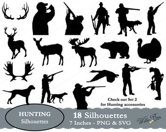Hunting Silhouettes - 7 inches - PNG & SVG files - Hunter - Hunting svg - Deer - Moose - Gun - INSTANT Download