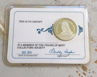 Silver coin, collectors society coin, sterling silver coin, franklin mint coin, certification coin, gift for him, card silver coin