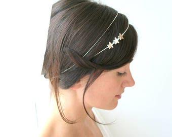 Fairy wedding tiara, bridal headpiece, silver star headpiece, bridal headpiece, star tiara, wedding headband, wedding crown, star headband