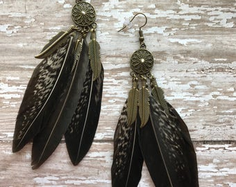 Lady Amherst Pheasant Tail Feather earrings, Long earrings, Dangle earrings, Gypsy earrings, Earthy Jewelry, Real feather  , Boho earrings