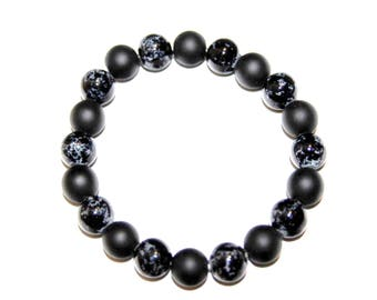Black Onyx Bracelet With Black and White Glass Beads