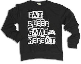 Eat Sleep Game Repeat VIDEO GAMER Hoodie Or Sweater Console Christmas Gaming