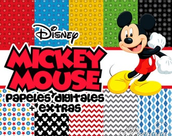 12. digital papers 12 x 12 Mickey Mouse + 10 Free Clipart