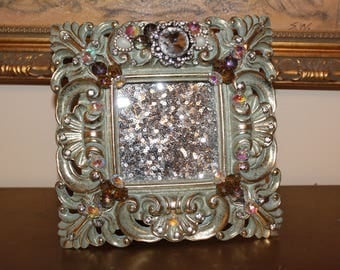 Vintage Green and Gold Jeweled Picture Frame