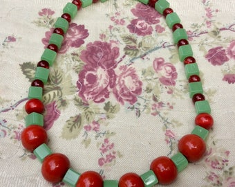 Necklace beads glass & ceramic