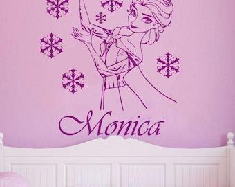 Personalized Frozen Elsa Girls name vinyl wall decal girls nursery decor a267