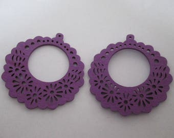 prints 2 wood flowers, 56 mm purple wood beads