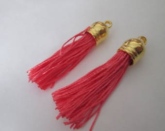 2 PomPoms 45 mm, tassel fringe in coral silk