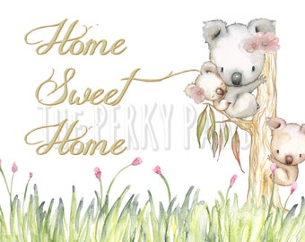 Home sweet home, wall art print, home decor, rustic wall art, home, typography print, koalas, new home gift, first home, lounge art