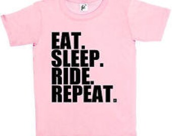 Girls Tshirt Eat Sleep Ride Repeat