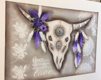 Postage included-Bull skull purple 900mm-600mm (P/H included in price)