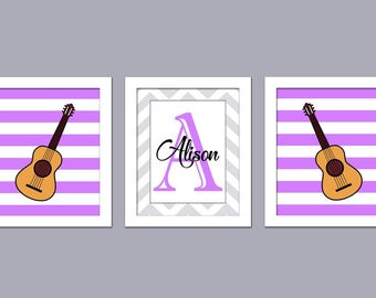 Music Nursery Wall Art - Guitar - Baby Name Art