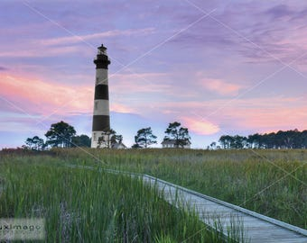 Bodie Island Lighthouse, Outer Banks, OBX, North Carolina, Sunset, Print Photograph, Wall Decor