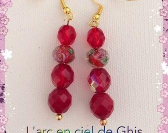 Red earrings, gold or silver hooks.