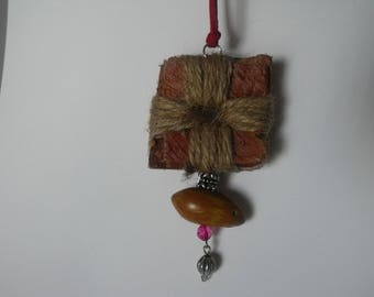 Tree bark & Hemp Pendant Necklace