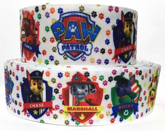 """GROSGRAIN RIBBON 1.5"""" Paw Patrol Dogs P28 Printed  By the Yard"""