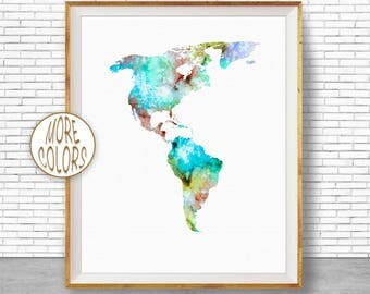 The Americas Print The Americas Map Living Room Decor Map Wall Art Print Travel Map Travel Decor Office Decor Office Wall ArtGift for Women