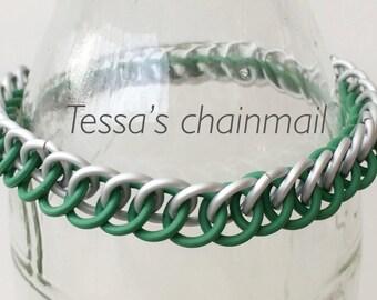 Green bracelet, green rubber bracelet, half persian bracelet, green chainmaille half persian, stretchy bracelet, Tessa's chainmail
