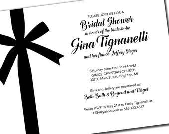 BRIDAL SHOWER INVITATIONS | Printed Bridal Shower Invitations with Bow | Black & White Bridal Shower Invitations | Wedding Shower |