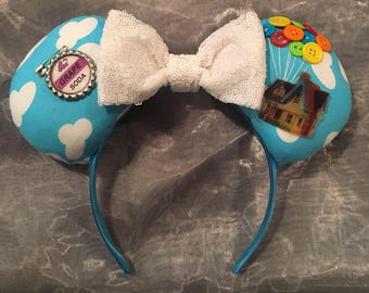 Up Inspired Mickey or Minnie Ears! Handmade Sewn & Stuffed- Fits Child to Adult