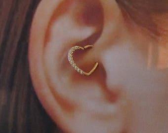 Rose Gold Multistone Bendable Heart Daith Piercing Ring..16g..10mm(Right Ear)