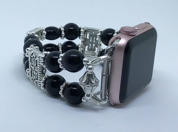 "Apple Watch Band, Women Bead Bracelet Watch Band, iWatch Strap, Apple Watch 38mm, Apple Watch 42mm, Classic Black Sizes 7 1/4"" to 7 1/2"""