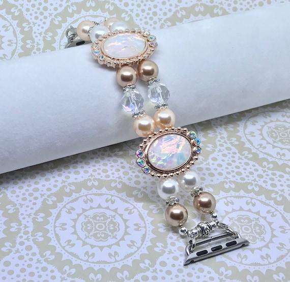 """Apple Watch Band, Women Bead Bracelet Watch Band, iWatch Strap, Apple Watch 38mm, Apple 42mm, Swarovski Peach Rose Gold Pearls, 6 3/4-7"""""""