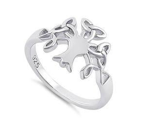 Celtic Tree Of Life Sterling Silver Ring Irish