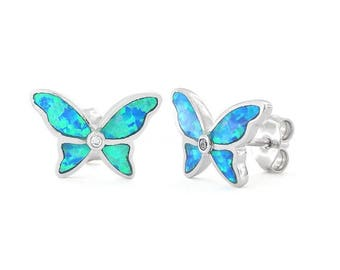 Blue Created Opal Butterfly Earring Studs Sterling Silver
