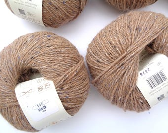Rowan Felted Tweed Yarn, 6 Skeins 157 Camel Brown with Blue, DK Light Worsted, Merino Alpaca Rayon, Soft Natural Yarn