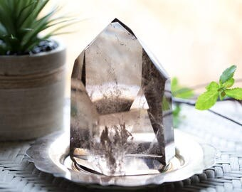 Smoky Quartz Crystal Point / Smokey Quartz Tower / Crystal Quartz Point / Polished Crystal Tower