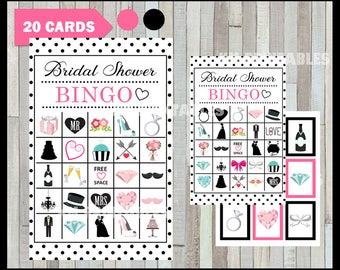 50 % off SALE Bridal Shower Bingo Game - Printable - 20 different Cards - Party Game Printable - Half Page Size - INSTANT DOWNLOAD