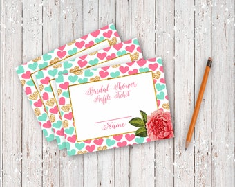 Instant Download Bridal Shower Raffle Ticket with Gold Foil and Pink Hearts Background