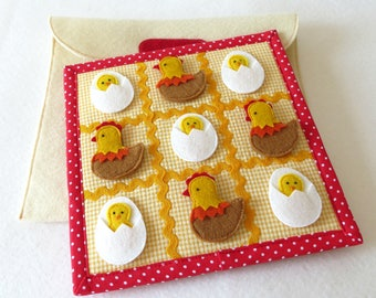 Travel Tic Tac Toe Game in Bag Chicken Egg Quiet Felt Book Page Child Game Learning Toy Birthday Git Kids Activity Board Game