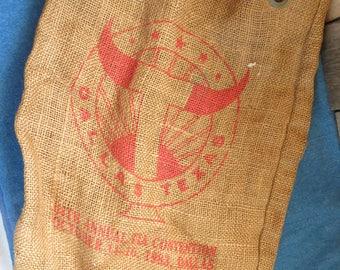 Burlap Feed Bag, 1983 TLA Convention, Dallas Texas