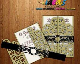Wedding Invitation Headband, headband XV Años, Bellyband, wedding invitation, laser cut, files (SVG, DFX, AI, Corel), Laser cut, cameo