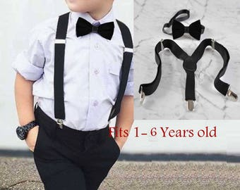 Boy Baby Kids Black Velvet Bow Tie Bowtie Suspenders Braces Sets 1-6 Years Old Wedding Party