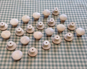 24 Wooden Knobs | Unfinished Birch Knobs | Cabinet Drawer Pulls