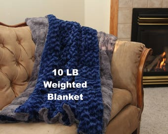 10 lb Weighted Blanket Adult, Weighted Blanket for Adult, Sensory Blanket, Autism Blanket, Anxiety Blanket, Therapy Blanket, Minky Blanket