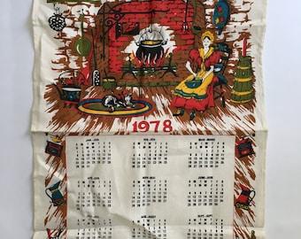 Vintage Calendar Linen tea Towel / 1978 Pure Linen Kitchen Tea Towel